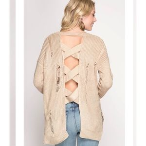 Sweaters - Knit Distressed Sweater Criss Cross Back Taupe NWT